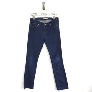 J Brand Jeans 30 Pencil Leg Blue Dark Wash Raw